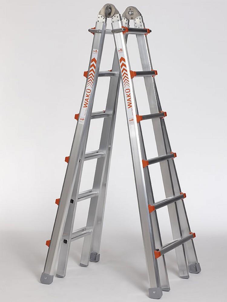 wak leiter teleskopleiter treppenleiter 103 4x6 sprossen. Black Bedroom Furniture Sets. Home Design Ideas