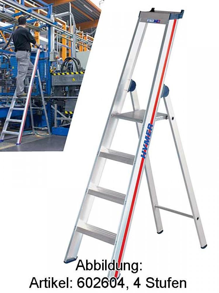 HYMER 602608 Stufenstehleiter mit Plattform SC60 8 Stufen einseitig begehbar