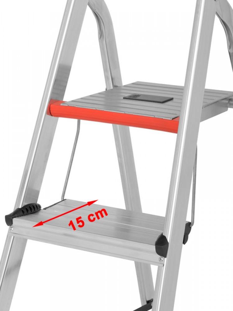 hymer stehleiter alu pro mit doppelstufe 71026 3 stufen. Black Bedroom Furniture Sets. Home Design Ideas