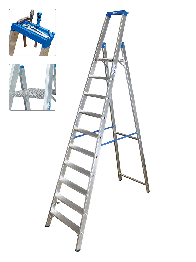 Hervorragend KRAUSE Leiter Profi Stufen-Stehleiter 10 Stufen - 124562 HO23