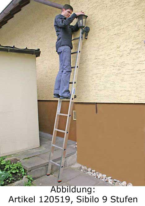 anlegeleiter krause sibilo 15 sprossen anlegeleiter alu leiter 120533. Black Bedroom Furniture Sets. Home Design Ideas